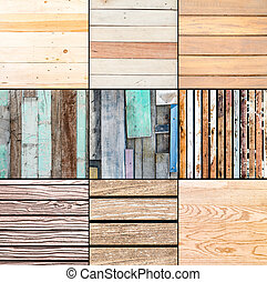 Collection of nine plank wood texture background