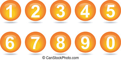 collection of numbers - Orange. - Vector illustrator EPS 10