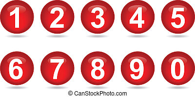 collection of numbers - red - Vector illustrator EPS 10