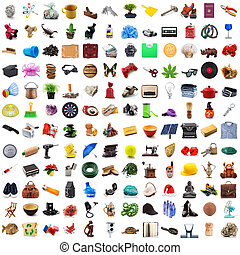 Collection of objects in chaos in white background