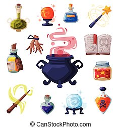 Collection of Occult Magic Objects for Mystic Rituals, Witchcraft Equipment, Cauldron, Book, Bottle of Magical Potion, Wand, Cartoon Style Vector Illustration on White Background.