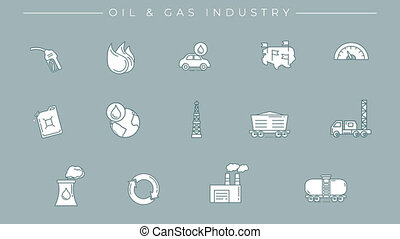 Line icons on the oil and gas theme. File contains alpha channel. Icons have an animation appearing from 0 to 2 seconds and loops from 2 to 6 seconds.