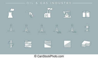 Line icons on the oil and gas technology theme. File contains alpha channel. Icons have an animation appearing from 0 to 2 seconds and loops from 2 to 6 seconds.