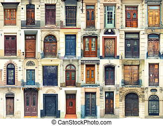 Collection of old doors