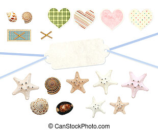 Collection of old labels and starfishes for scrapbooking....
