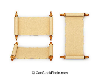 Collection of old parchments. Isolated over white. 3d illustration