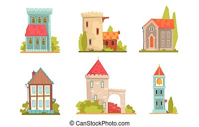 Collection of old stone buildings. Vector illustration.