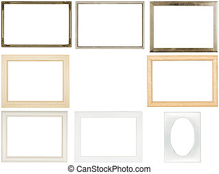 collection of old used picture frames, isolated on white