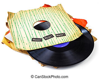 Collection of old vinyl lp's with sleeves isolated on white