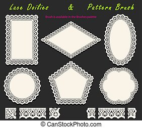 Collection of Openwork White Lace pattern brush and diversified lacy napkins, doilies and tracery elements. Vector illustration.