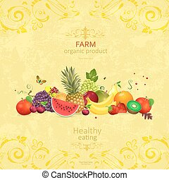 collection of organic fruits on shabby chic background for your