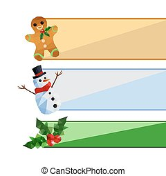 Collection of origami christmas banners set