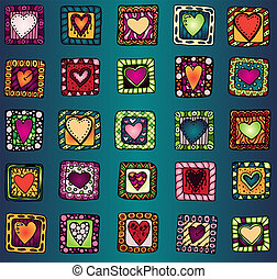 Collection of original drawing doodle hearts. Template frame...