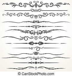 Ornamental Rule Lines in Different Design - Collection of...