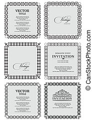 Collection of ornate vintage vector