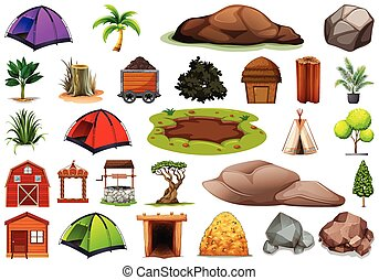 Collection of outdoor nature themed objects and plant elements