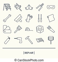 Collection of outline repair and building tools icons