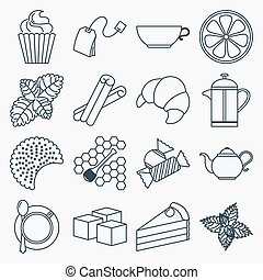 Collection of outline tea icons. Tea time