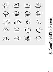 Collection of outline weather icons isolated vector illustration