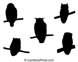 Collection of Owl Bird on tree branch Silhouettes.