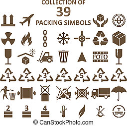 Vector image of collection of packing simbols