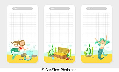 Collection of Pages for Notes with Cute Little Fairytale Mermaids, Treasures in Chest, Pearl in the Shell Vector Illustration