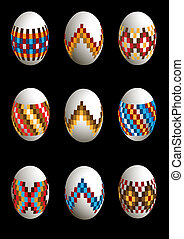 Collection of painted patterned Easter eggs on black...