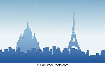 Collection of paris city skyline scenery background