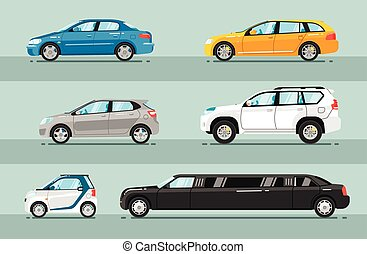 Collection of Passenger Cars Flat Style Vectors