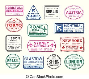 Collection of passport visa stamps isolated on white ...