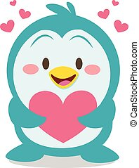 Collection of penguin with heart