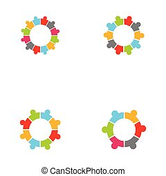 Collection Of People Icons In Circle - Vector Concept Engagement