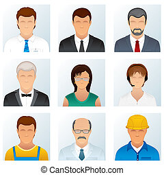 Collection of People Occupations Icons - Collection of...