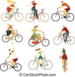 Collection of people riding bicycles of various types. Set of cartoon men and women on bikes. Colorful vector illustration.