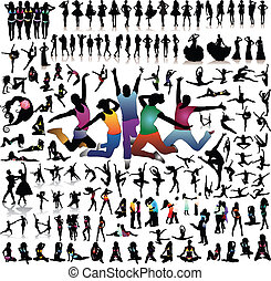 Collection of people .silhouette