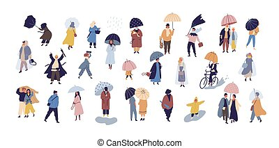 Collection of people walking under umbrella on autumn rainy...