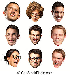 collection of person faces over white background