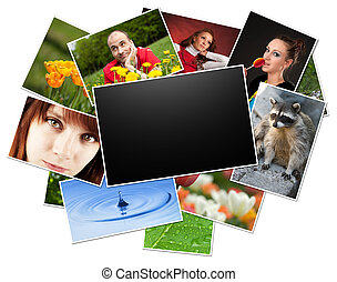 collection of photos with blank frame