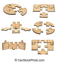 collection of Pieces of wooden puzzle isolated on white background