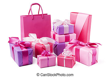Collection of pink and purple gifts, isolated on white