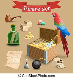 Collection of pirate illustrations.