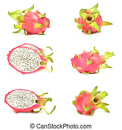 Collection of pitaya on a white background