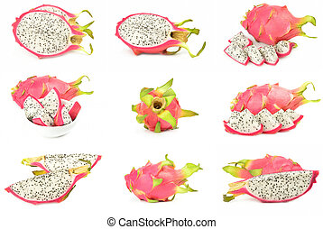 Collection of pitaya on a white background cutout
