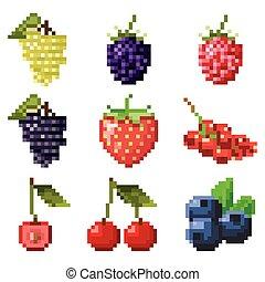 Collection of pixel berries