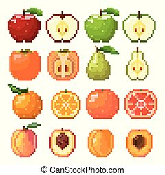 Collection of pixel fruits