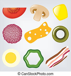 pizza ingredients - collection of pizza ingredients