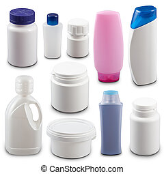 Collection of plastic bottles isolated on white