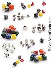 Collection of plastic dices isolated on white
