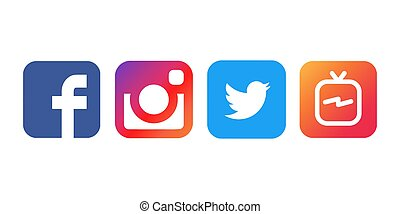 Collection of popular social media logos printed on white paper, vector, illustration