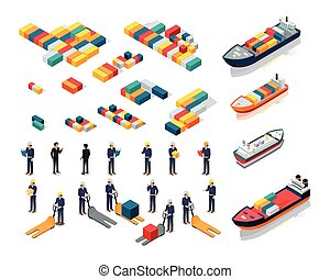 Collection of Port Warehouse Isometric Icons - Set of sea...